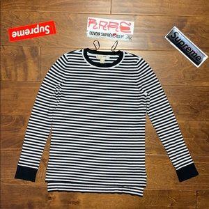 Micheal Kors Black White Striped Shirt medium Knit